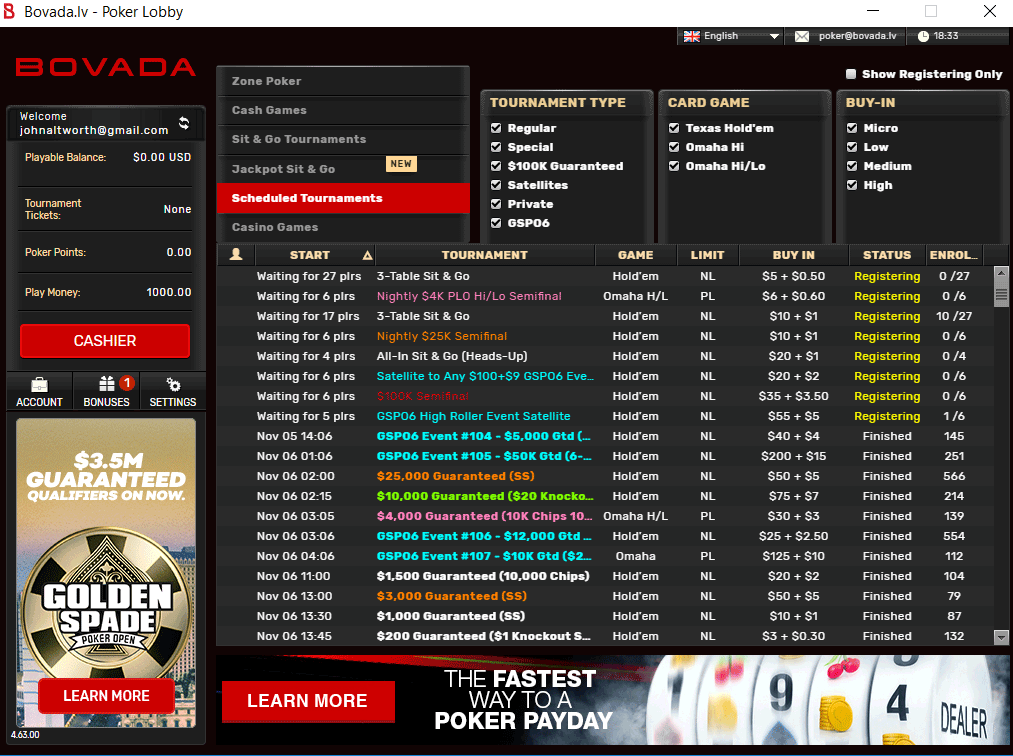 Bovada Poker Reviews