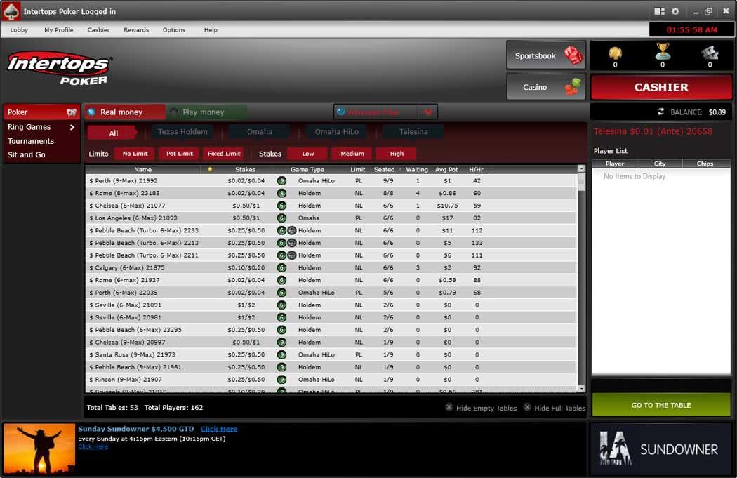 Intertops Poker Lobby - Downloadable Desktop Version