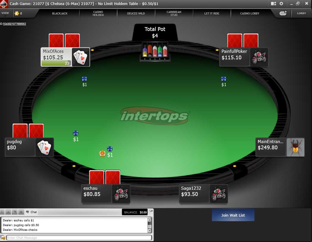 Intertops Poker Table - Download version for the Desktop