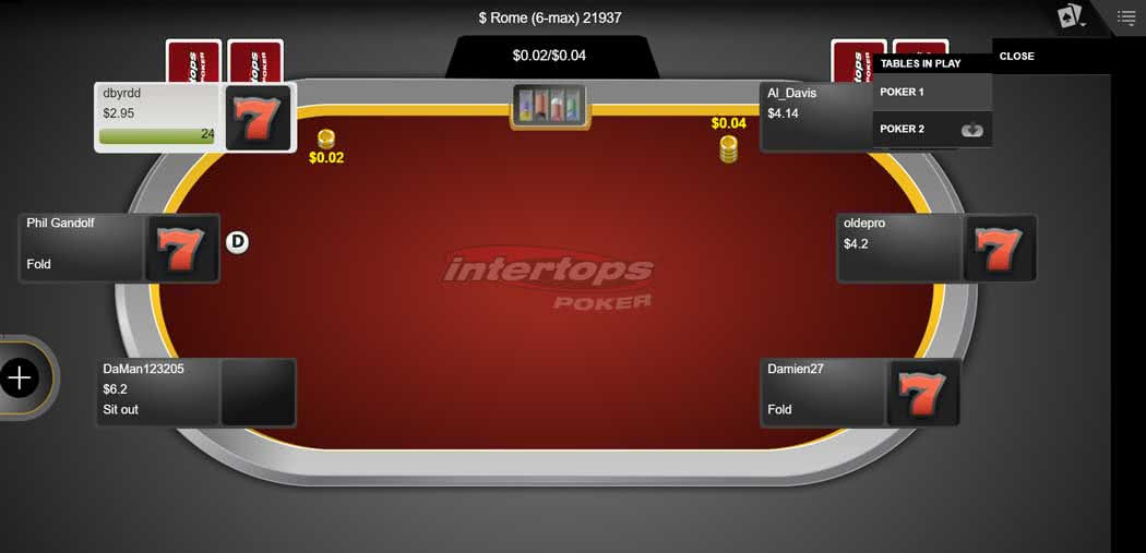 Intertops Poker Table on Mobile through Instant Play
